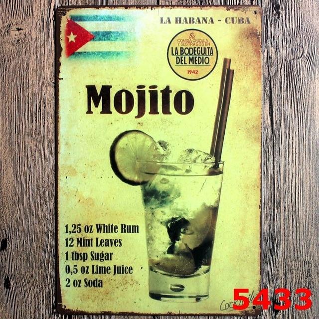MOJITO BEER Vintage Home Decor Tin Sign For Beer Bar Pub Wall Decor ...