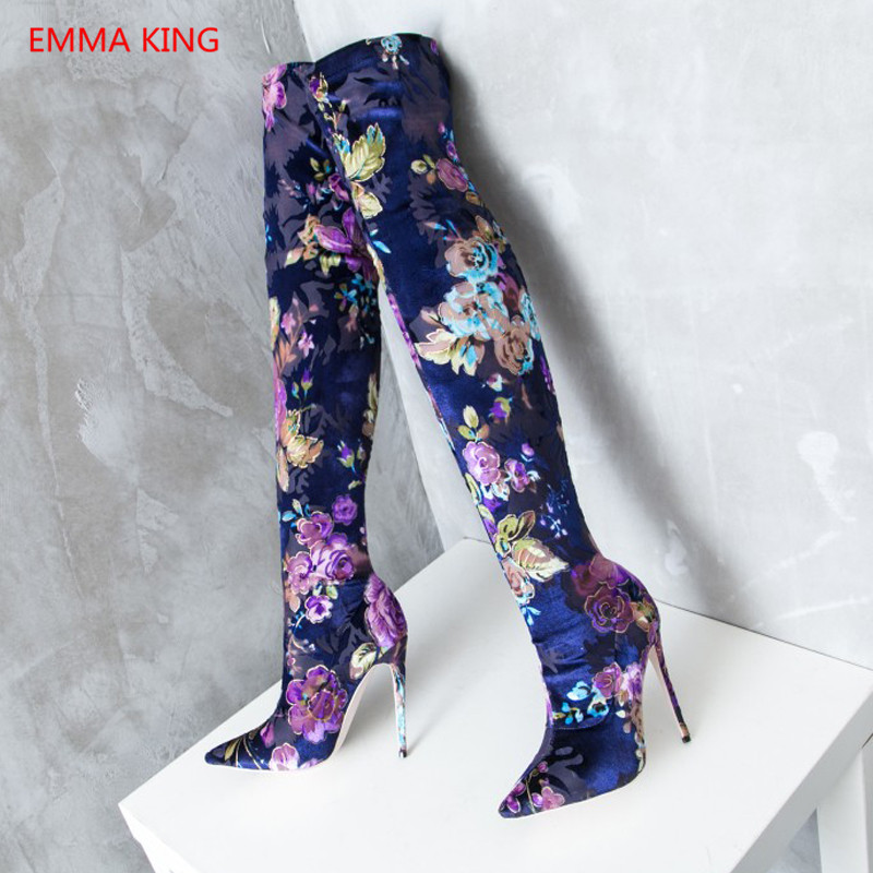 12 Shown Bottes De Stretch Hiver Talons Pointu Picture Hauts Sexy Mode Cm Haute As Bout Brodé Chaussures Cuisse In Femme Gravures Cuissardes 2018 xwRUpqw