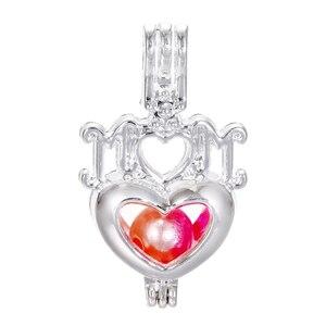 5 pçs prata melhor mãe coração rosa pérola gaiola difusor de óleo essencial encantos medalhão pingente colar de jóias fazendo para oyster pearl