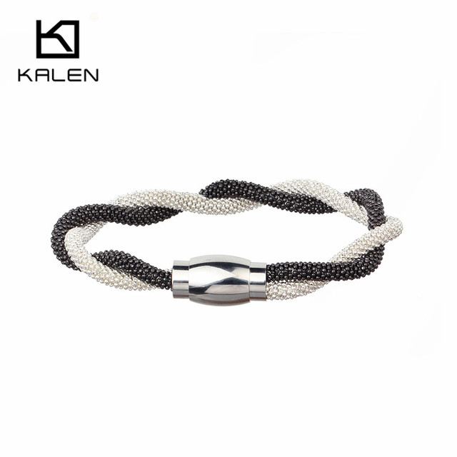 2017 New Arrival Stainless Steel Magnet Mesh Chain Uniquely Double Color Bracelets for Women/Girl Fashion Cocktail Party Jewerly