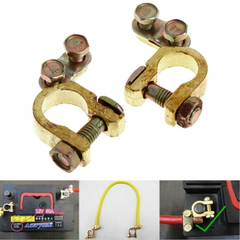 Us 3 06 26 Off New 2 Pcs Replacement Auto Car Battery Terminal Clamp Clips Brass Connector Vehicle Car Accessories In Battery Jump Cable From