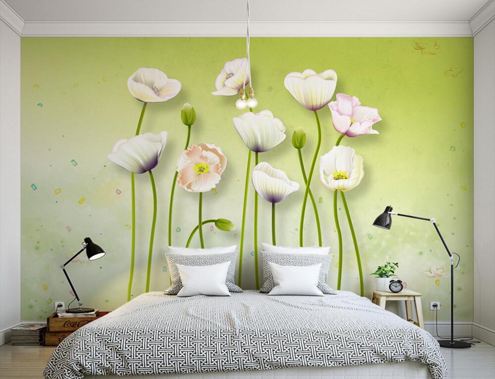 Custom large murals,Fresh and beautiful poppy 3d flowers wallpaper,living room sofa tv wall children bedroom papel de parede