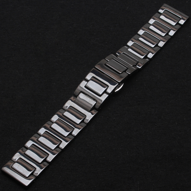 Ceramic Strap Watch Band Double Deployant Clasp fit Diamonds Dress Wrist watch strap bracelet 14mm 16mm 18mm 20mm 22mm women men hot sale ceramic 14mm 16mm 18mm 19mm 20mm 22mm black white watchband men women bracelet for women dress new general watch strap