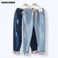 Large Size Summer Women S Jeans 2017 New Hole Vintage Loose Jeans Plus Blue Denim Do