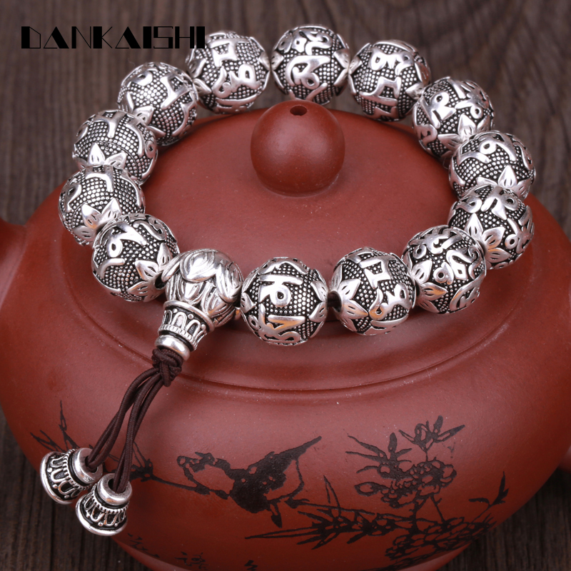 Dankaishi Charm Fine Retro Tibetan Buddhism Plated Thai Silver Rope Bracelet Men Six Words Mantras Om Mani Padme Hum Lotus Beads