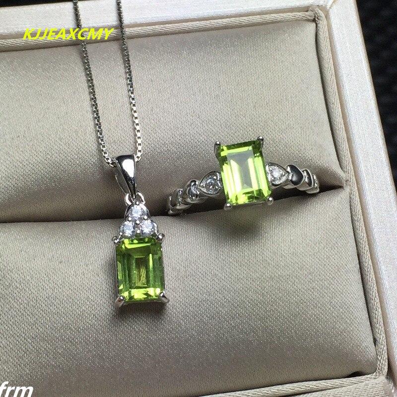 KJJEAXCMY bijoux fins petit carré ensemble de pendentifs féminins olivine + anneaux pour envoyer la chaîne 925 argent incrusté