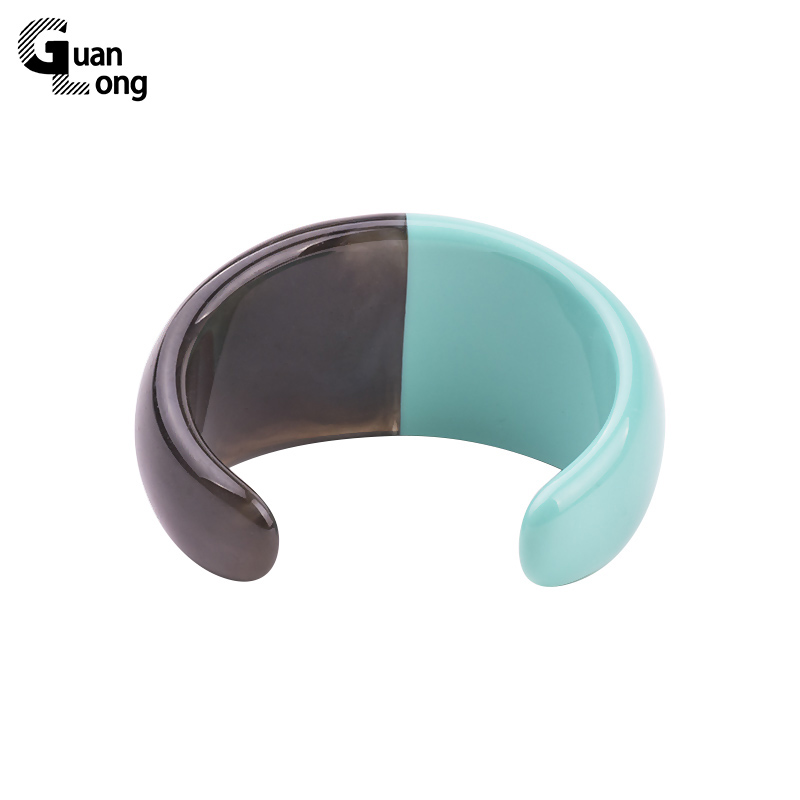 GuanLong Collection Fashion Double Colors Resin Craft Cuff Bangle Bracelets Puseiras Jewelry For Women Gift