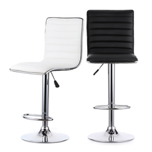 ikayaa 2pcsset pu leather pneumatic swivel bar stools chairs height adjustable counter pub chair
