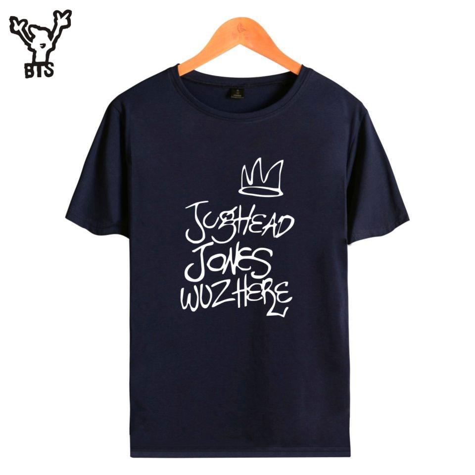 BTS Summer Popular Riverdale Hip Pop T-shirts Men/Women Cool Jughead Jones Wuz Here Short Sleeve Funny T Shirt 4XL A4890-A7136
