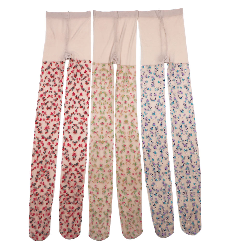 1 Pc Fashion Spring Autumn Women Floral Printed Soft Transparent Seamless Pantyhose Flower Pattern Tights