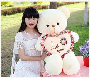 large 80cm white teddy bear i love you bear soft doll throw pillow Christmas gift s2423