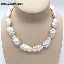 Летнее жемчужное ожерелье в стиле барокко, Необычные Квадратные белые жемчужины, натуральный культивированный жемчуг, элегантные ювелирные изделия для женщин