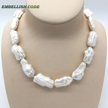 baroque summer style pearl statement necklace Irregular square white pearls natural Cultured pearl elegant jewelry for women cluci wholesale100pcs 6 7mm gold twins pearl oysters 200 pearls can get aaa akoya cultured in saltwater individually wrapped