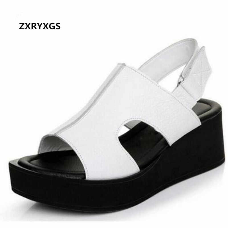a237542925f40a New fish head large size women shoes summer sandals 2019 bestselling  genuine leather sandals Platform shoes