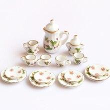 クリエイティブセラミックミニティーセットグリーン花柄磁器茶セット子供のおもちゃミニキッチンのおもちゃ大人15個