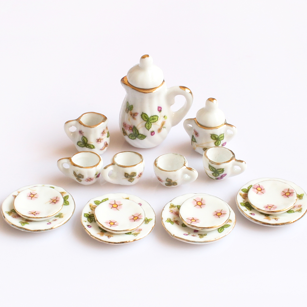 Creative Ceramic Mini Tea Set Green Flower Pattern Porcelain Ceramic Tea Set Kids Toy Mini Kitchen Toy For Kids Adults 15pcs