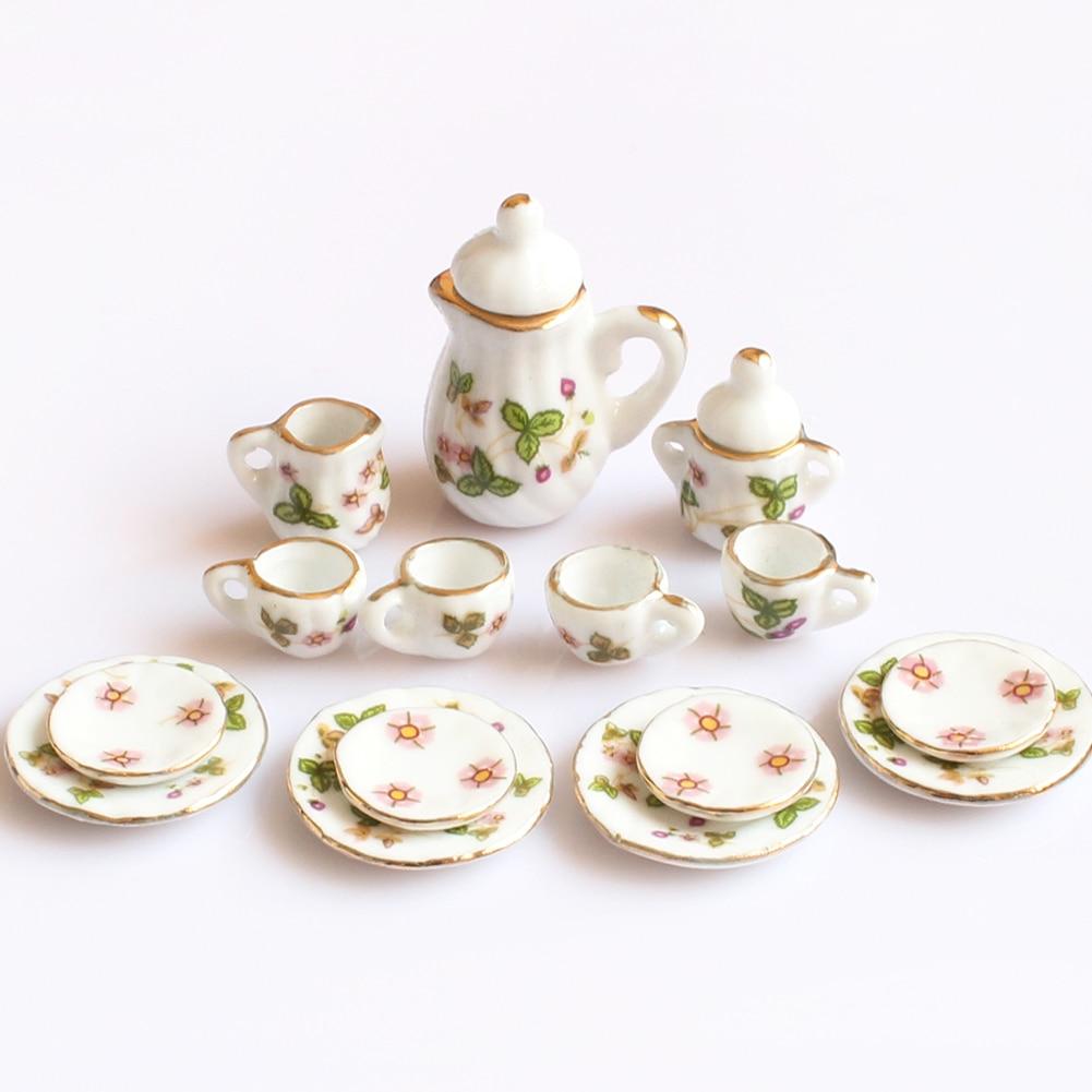 Creative Ceramic Mini Tea Set Green Flower Pattern Porcelain Ceramic Tea Set Kids Toy Mini Kitchen Toy for Kids Adults 15pcs-in Kitchen Toys from Toys & Hobbies
