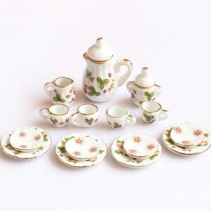 Image 1 - Creative Ceramic Mini Tea Set Green Flower Pattern Porcelain Ceramic Tea Set Kids Toy Mini Kitchen Toy for Kids Adults 15pcs