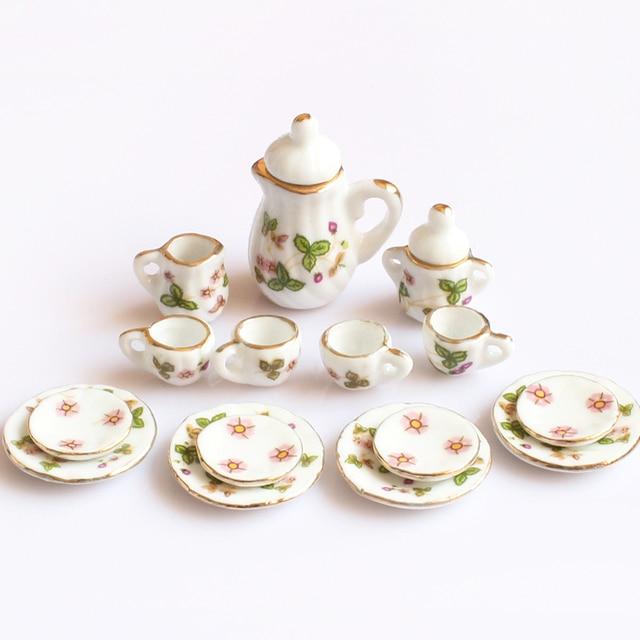 Creative Ceramic Mini Tea Set Green Flower Pattern Porcelain Ceramic Tea Set Kids Toy Mini Kitchen Toy for Kids Adults 15pcs