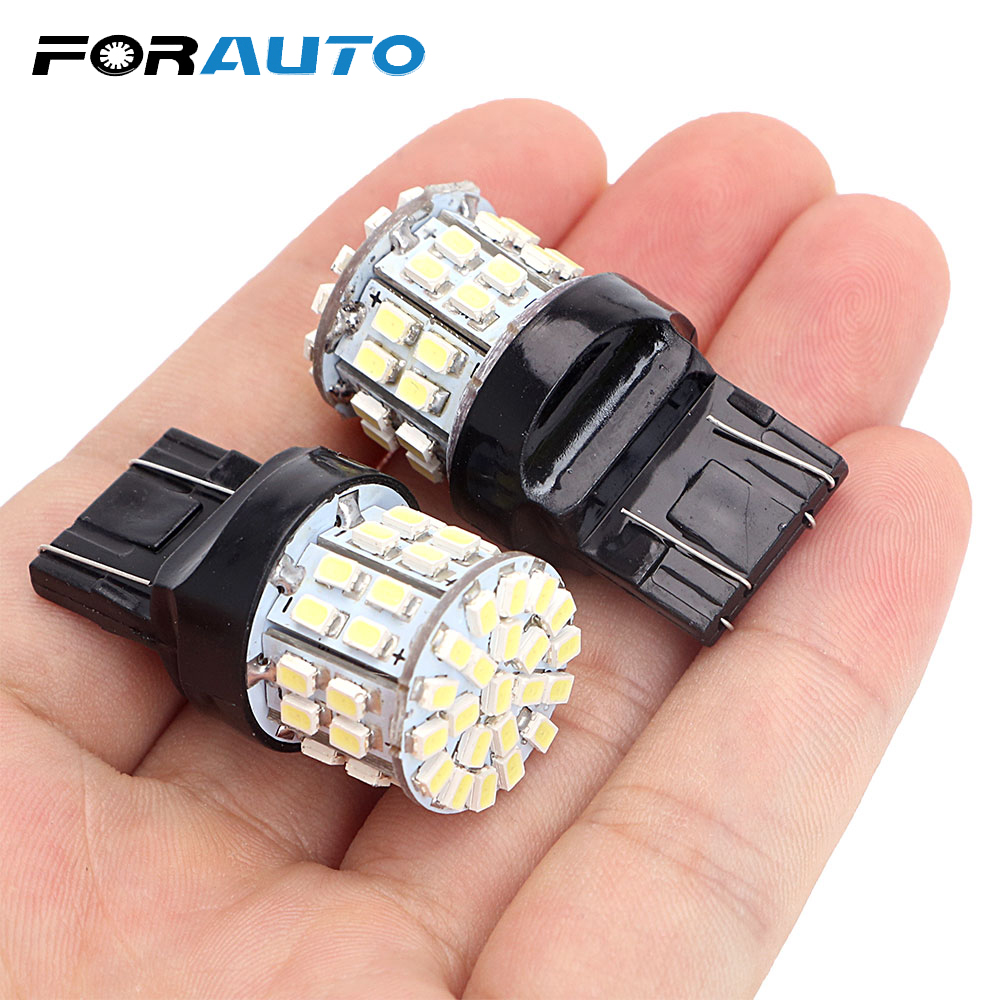 FORAUTO 1 Pair W21/5W 50SMD Car LED Brake Light T20 7443 Backup Reserve Lights Stop Rear Bulb Auto Turn Signal Lamp