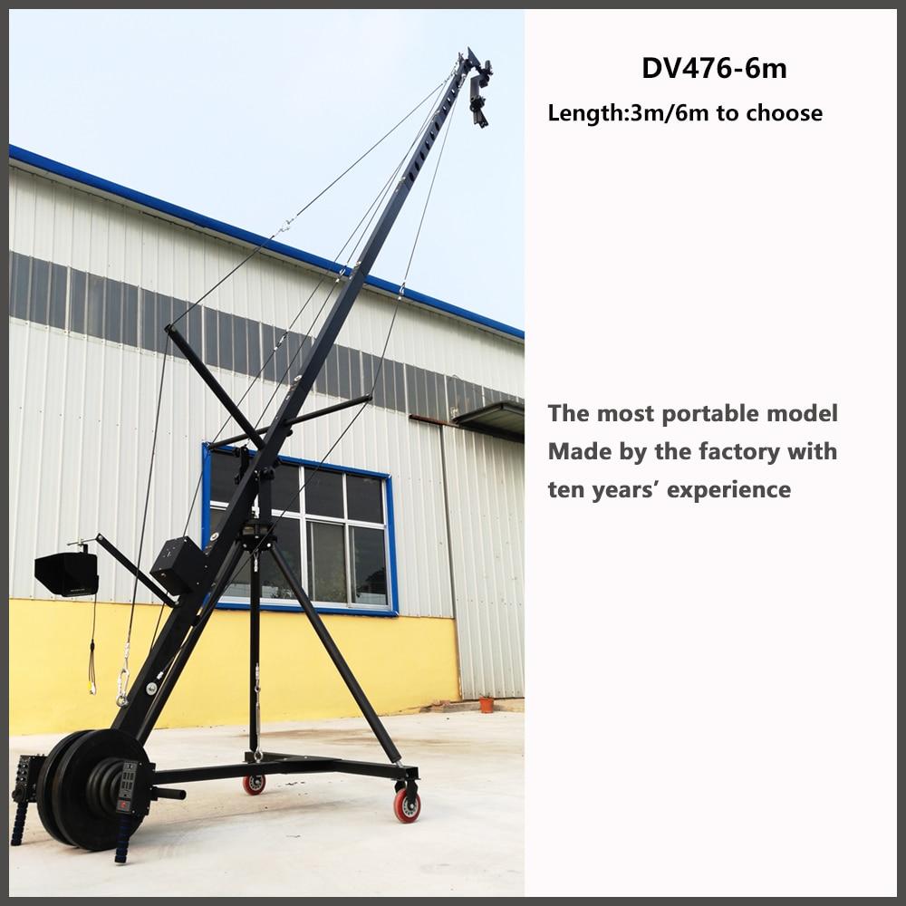 6 m 2 axes octogone pan inclinaison tête portable caméra grue 3 m 6m2 axe tête caméra grue potence pour caméra vidéo filmant
