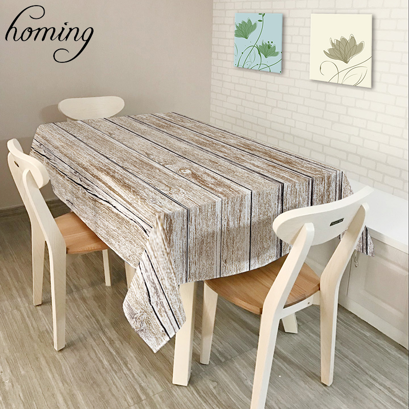 Homing New Rurable Coffee Table Covers Colored Vintage Wood Striped Polyester Oil Proof Decoration Dinning