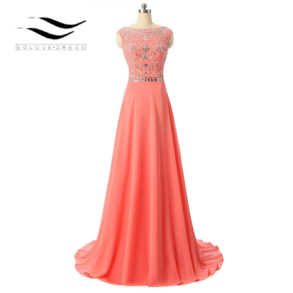 Solvedress Womens A Line Floor Length Formal Long Evening Dress Crystal Beaded Evening Gown O Neck