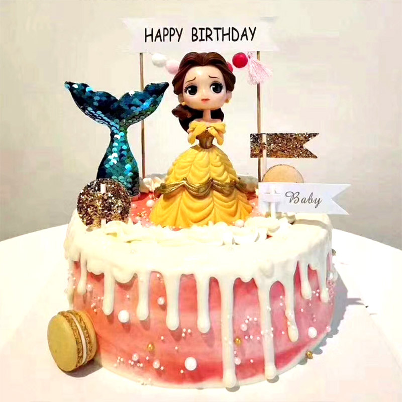 Image 2 - Cake Decoration Figure Snow white Princess Glitter Sliver Gold Happy Birthday CastleCake toppers for kids birthday Party Decor-in Cake Decorating Supplies from Home & Garden