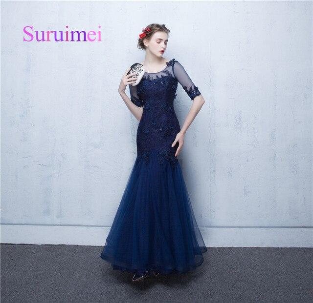 ee4a876ce8c Высокое качество Темно-синие французский Кружево Русалка вечернее платье с рукавами  до локтя зима Вечерние