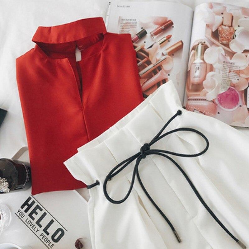 2018 Les Femmes Ensemble Deux Pièces Ensemble Mode D'été Top et Short Crop Top costume Cordon Pantalon Court survêtements pour femmes