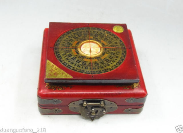 Exquisite Chinese Classical Copper Compass Fengshui with Wood Dragon Phoenix Leather Box and Brass Lock