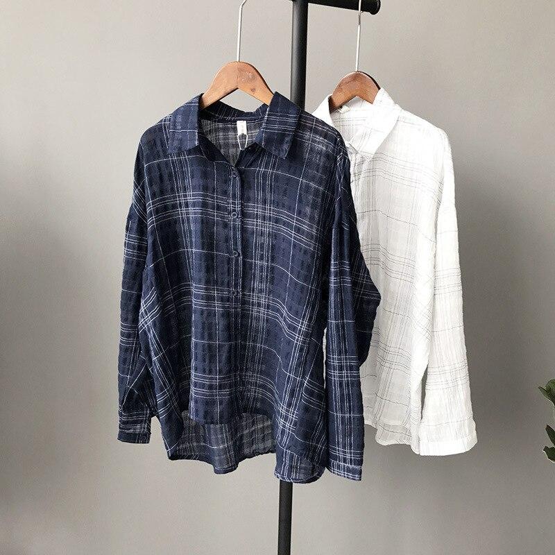 Fashion Women Linen Lattice Shirts Single Breasted Plaid Cotton Shirt Wild Casual Streetwear Shirt Women Plus Size Blouse 5563