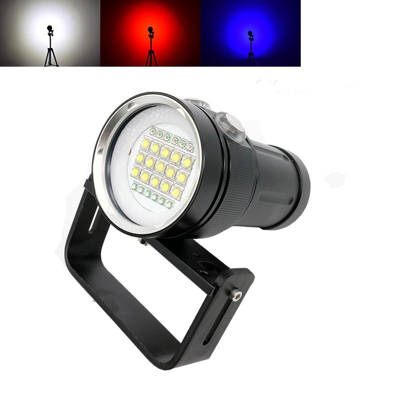 Diving LED flashlight underwater 100m photography fill light flashlight 15CREE XML2 white 18000Lumens with 6 *UV +6 *red light