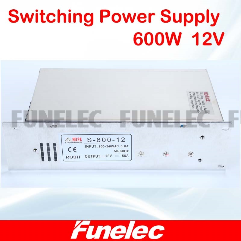 AC 110V 220V to DC 12V 50A 600W Transformer Switch Power Supply for Led Strip & Led billboard 1pcs/lot 1pcs lot sh b17 50w 220v to 110v 110v to 220v