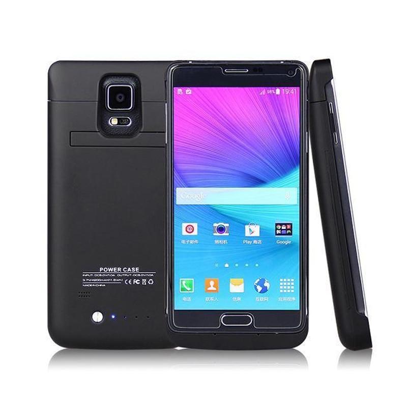 imágenes para Nota4 4800 mah externo del cargador de batería para samsung galaxy note 4 n9100 teléfono carga del banco de potencia de copia de seguridad con soporte