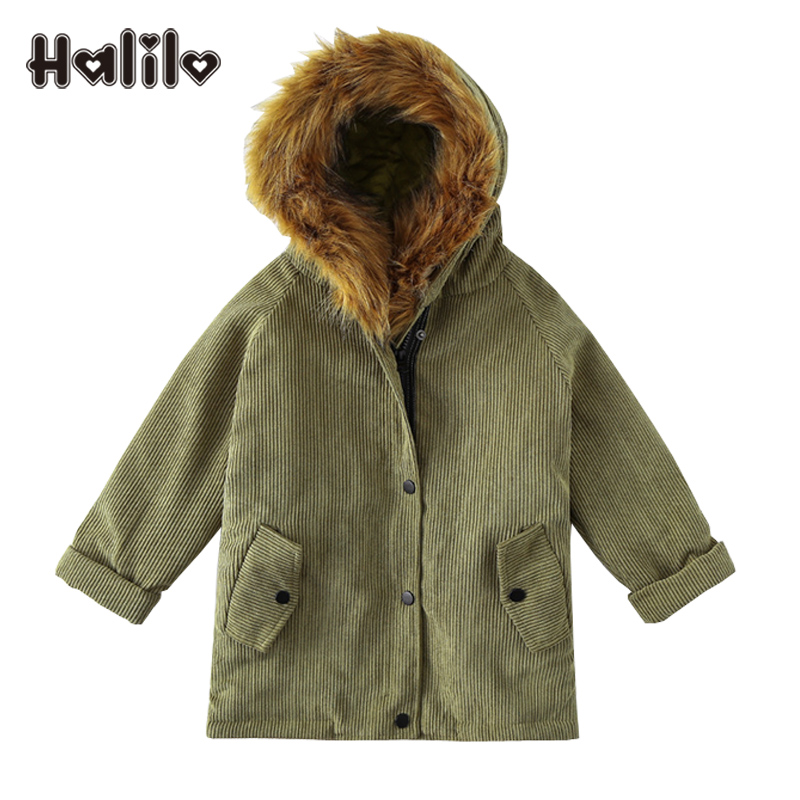 Halilo Girls Winter Coat Thicken Warm Corduroy Children Jacket Hooded Kids Clothes Russia Girl Jackets Girls Outerwear Coats цены