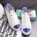 A primavera Eo Outono Coreano Ar Plana Maré Sapatos De Couro Rendas Sapatos Sapatos Estudantes Sapatos de Lantejoulas Branco
