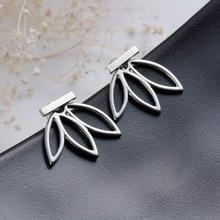 DoreenBeads Vintage Lotus Earrings Metal Bar Stud Earrings Fashion Ear Jacket Woman Jewelry Gold Color / Dull Silver Color, 1 PC