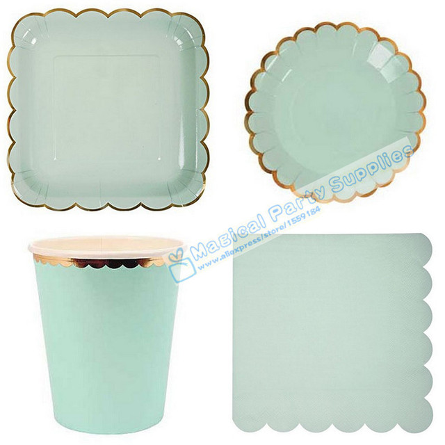 8 Set Solid Mint Foil Baby Shower Tableware Paper Plates Dishes Cups