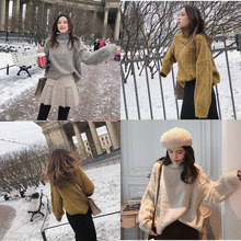 Mishow 2018 winter new sweater coat female loose high collar bottoming thicken pure color sweater MX18D5408(China)