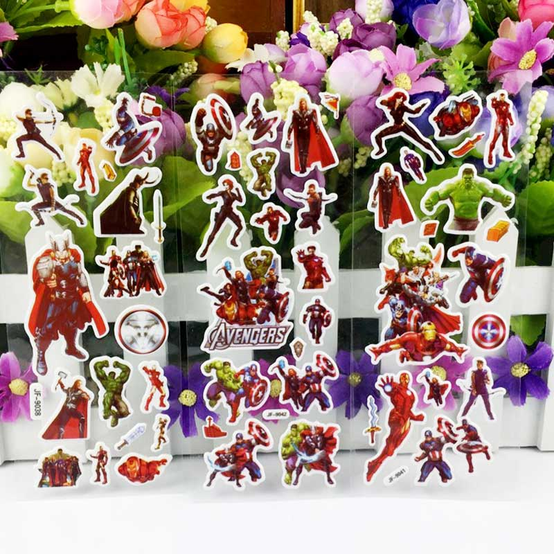 6 different Sheets SuperHeroes Marvel Avengers DIY Stickers Toy Spider-Man Thor Hulk Stickers For PVC Scrapbook Gifts For Kids