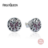 FirstQueen Authentic Real 925 Sterling Silver Vintage Butterfly Stud Earrings Women Wedding Jewelry Femme Brincos