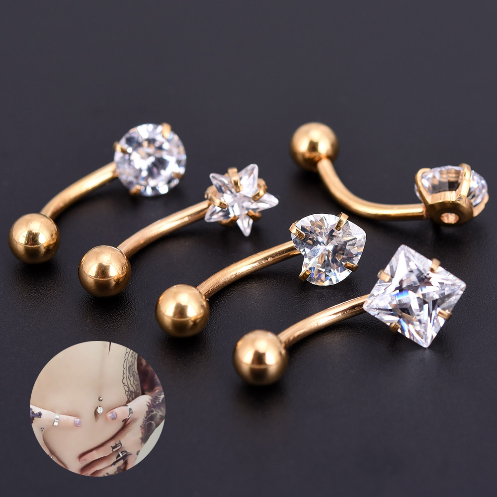 2017 New Anti Allergy Lounger Titanium Earrings Ear Nail Belly Button Rings Navel Piercing Star Heart Round Crystal Jewelry