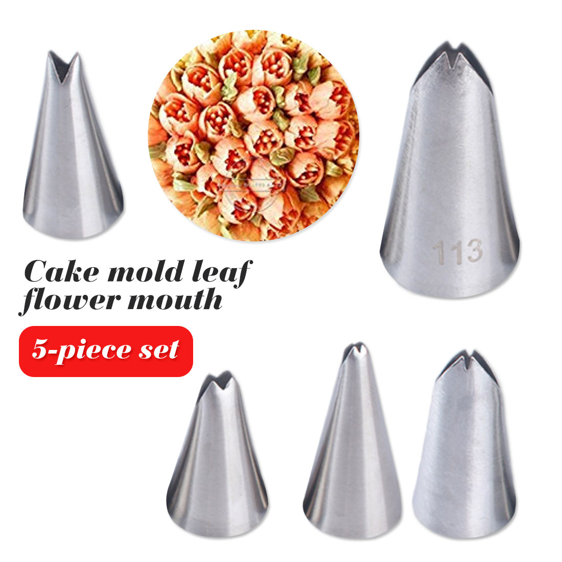 Flower Nails Stainless Steel Dessert Decorating Pastry Fondant Tools Leaves Nozzles Icing Piping Tips cake decorators 5Pcs in Dessert Decorators from Home Garden
