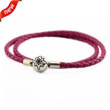 Europea Amuletos Rosa pulseras de cuero y Collares para las mujeres 100% plata esterlina 925 estrella cielo cierre fandola
