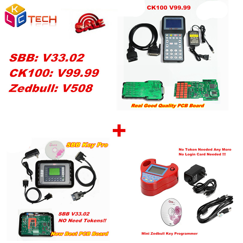 Цена за DHL Бесплатно V99.99 CK100 ключевые программист инструмент + супер мини ZedBull Красный Мини ZED BULL v508 + SBB Ключевые Программист V33.02 Пакета продажа