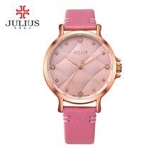 Señora de las mujeres de japón del reloj de cuarzo mujer horas de moda rhinestone caja de pulsera de regalo de cumpleaños de la muchacha de cuero julius checkboard 877