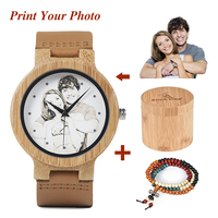 BOBO BIRD Personality Wood Watches Men's Custom Watch Print Your Own Photo on dial clock relogio masculino UV D13