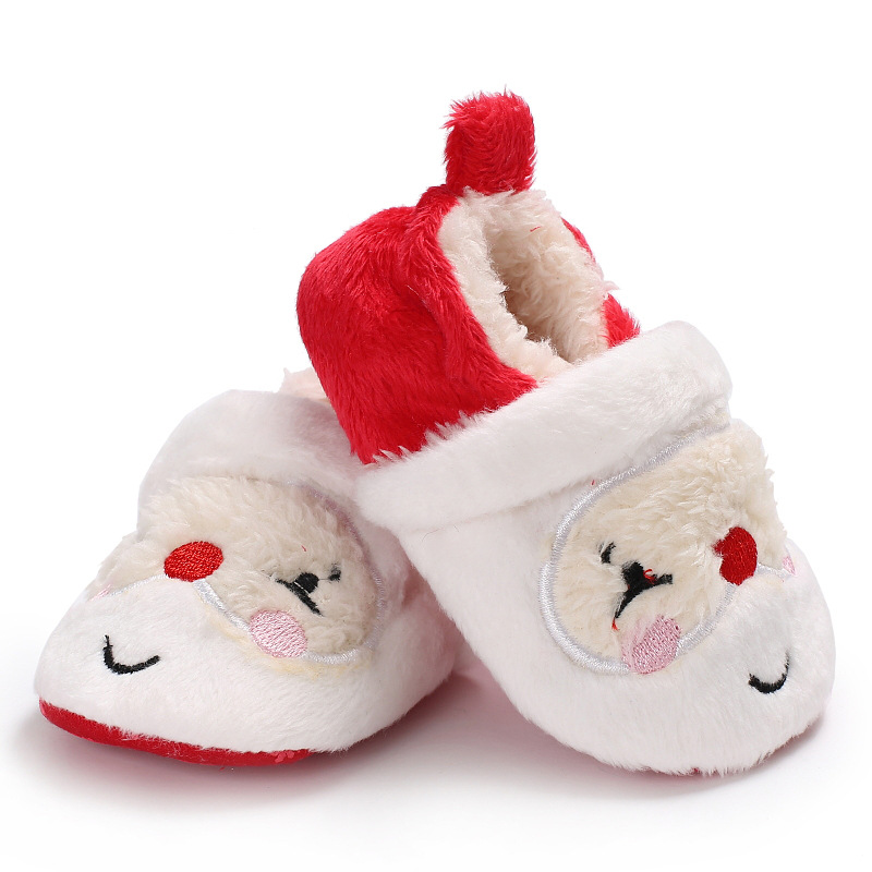 Soft Soled Infant Toddler Kids Girl Santa Claus Shoes Cute Newborn Baby Boys Girls Christmas Winter Warm First Walkers DS9