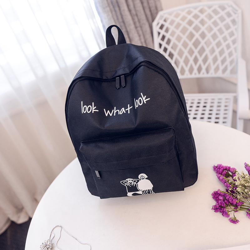STANCHION Women Backpack Fashion Cute Alphabet Cartoon Characters Large Capacity Multi-purpose Travel Canvas Daily